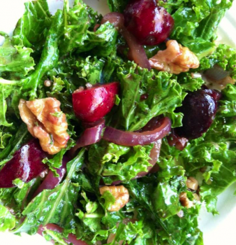 Kale + Cherry Salad with Caramelized Onions