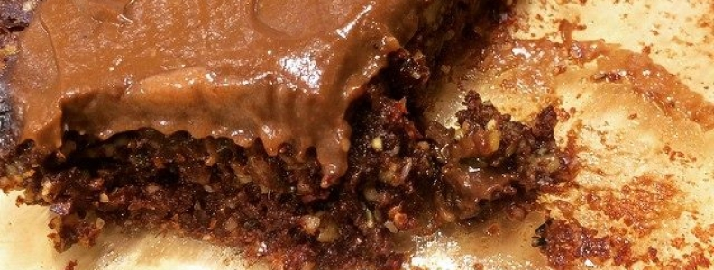 Raw Vegan Brownies with Goji Berries and Cacao Icing