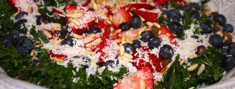 Tropical Kale Salad w/Blueberry Balsamic Dressing