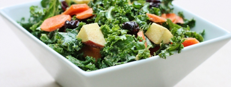 Raw Kale and Apple Salad w/Avocado Lime Dressing