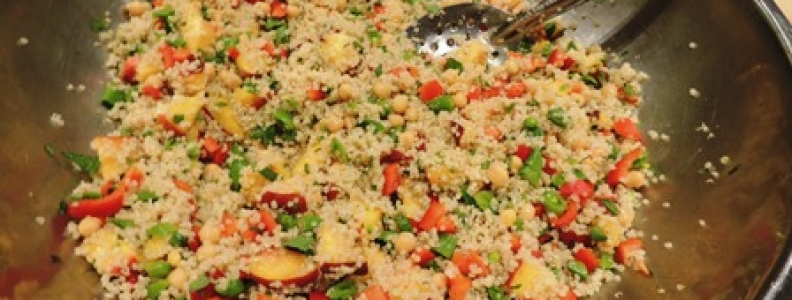 Quinoa Snap Pea Salad with Peaches + Mint