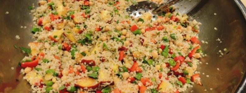 Quinoa Snap Pea Salad with Peaches + Mint
