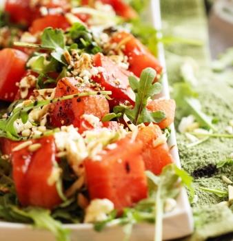 Arugula & Watermelon Salad w/ Feta Cheese